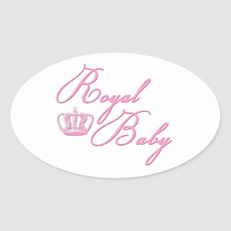 Royal Baby Pink With Crown Oval Sticker