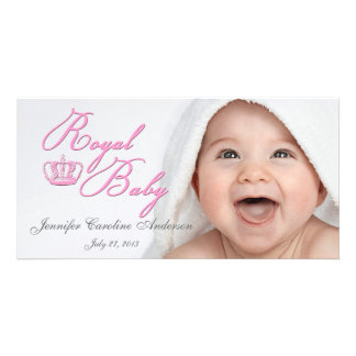 Royal Baby Pink With Crown Picture Card