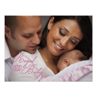 Royal Baby Pink With Crown Poster