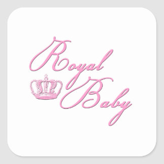 Royal Baby Pink With Crown Square Sticker