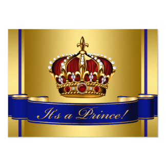 Royal Baby Red Blue and Gold Prince Baby Shower Card