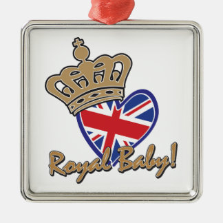 Royal Baby UK Heart Flag Metal Ornament