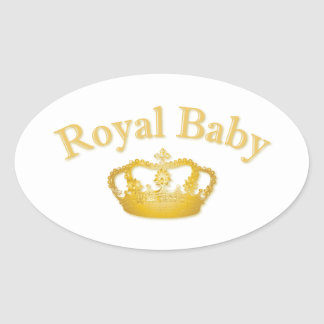 Royal Baby with Golden Crown Oval Sticker