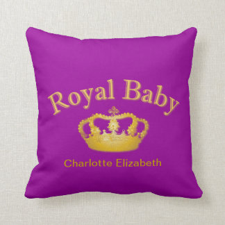 Royal Baby with Golden Crown Throw Pillow