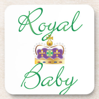 Royal Baby with Purple and Gold Crown Beverage Coaster