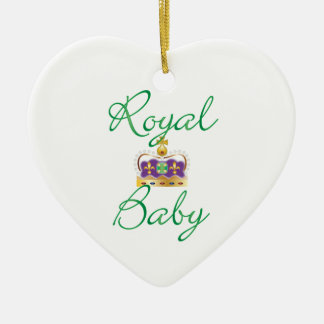 Royal Baby with Purple and Gold Crown Ceramic Ornament