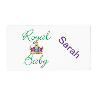 Royal Baby with Purple and Gold Crown Shipping Label