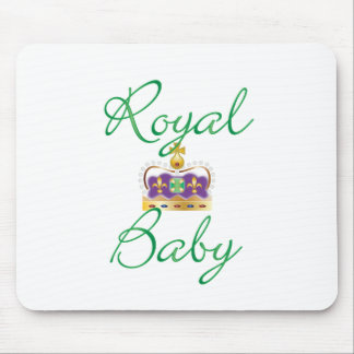 Royal Baby with Purple and Gold Crown Mouse Pad