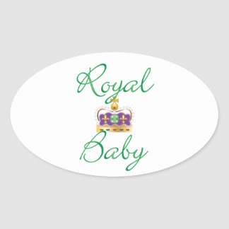 Royal Baby with Purple and Gold Crown Oval Sticker