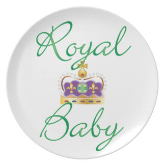Royal Baby with Purple and Gold Crown Plate