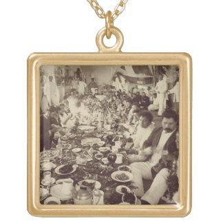Royal Banquet at King Kalakana's Boat House, c.187 Gold Plated Necklace
