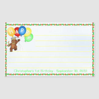 Royal Bear 1st Birthday Notes Scrapbooking Rectangular Sticker