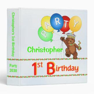 Royal Bear 1st Birthday Party Memories 1.5 Inch 3 Ring Binder