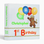 Royal Bear 1st Birthday Party Memories 1 Inch 3 Ring Binder
