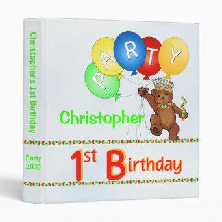 Royal Bear 1st Birthday Party Memories 1 Inch Vinyl Binders