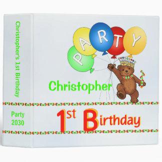 Royal Bear 1st Birthday Party Memories 2 Inch Binders