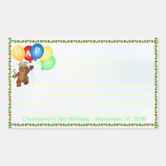 Royal Bear 2nd Birthday Notes Scrapbooking Rectangular Sticker