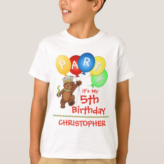 Royal Bear 5th Birthday Party Custom T-Shirt