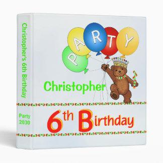 Royal Bear 6th Birthday Party Memories 1 Inch Binder
