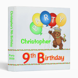 Royal Bear 9th Birthday Party Memories 1 Inch Binder