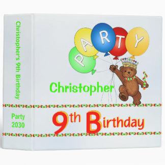 Royal Bear 9th Birthday Party Memories 2 Inch Binder
