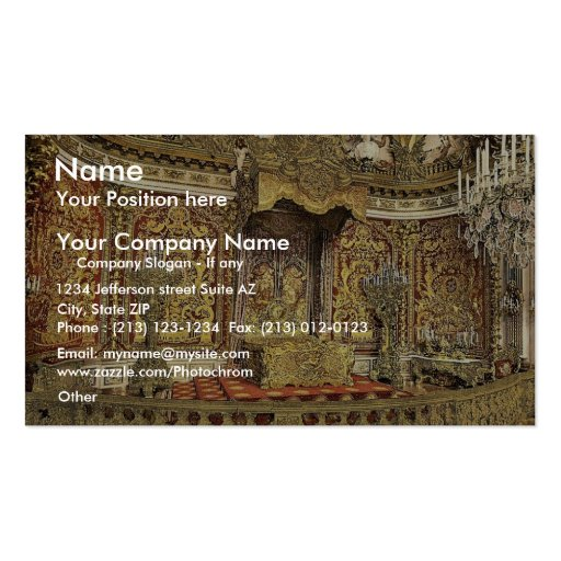 Royal bedroom, Herrenchiemsee Castle, Upper Bavari Business Card Template