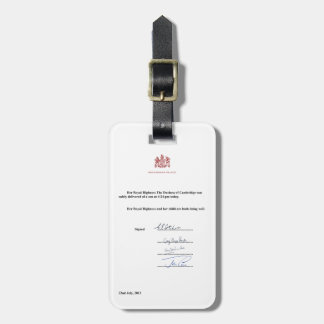 Royal Birth Announcement Bag Tag