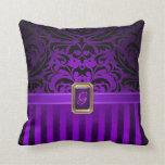 Royal Black Damask Purple Pinstripe Faux Jewel Throw Pillow