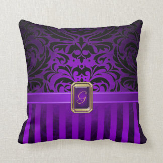 Royal Black Damask Purple Pinstripe Faux Jewel Throw Pillow