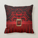 Royal Black Damask Red Pinstripe Faux Jewel Pillow