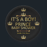 "Royal Black Gold Prince Baby Shower Its A Boy Paper Plate<br><div class=""desc"">Royal Black Gold Prince Shower. It&#39;s A Boy. Party Royal Black Little Prince Crown Baby Shower. Elegant gold damask jewel crown. It&#39;s a Prince For Dinner,  Snacks,  Cakes,  food</div>"