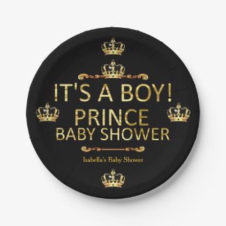 Royal Black Gold Prince Baby Shower Its A Boy Paper Plate