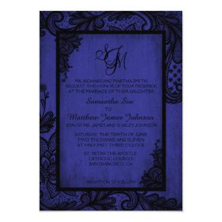 Royal Black Lace Gothic Wedding Invitation Card