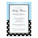 Royal Black Polka Dot Blue Baby Shower Invitations