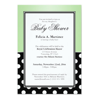 Royal Black Polka Dot Green Baby Shower Invitation