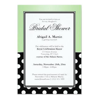 Royal Black Polka Dot Green Bridal Shower Card