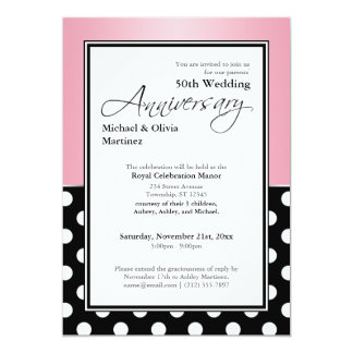 Royal Black Polka Dot Pink 50th Anniversary Card