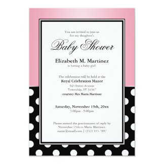 Royal Black Polka Dot Pink Baby Shower Invitations