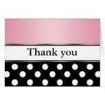 Royal Black Polka Dot Pink Thank You Cards