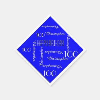Royal Blue 100th Birthday Party Repeat Names Paper Paper Napkin