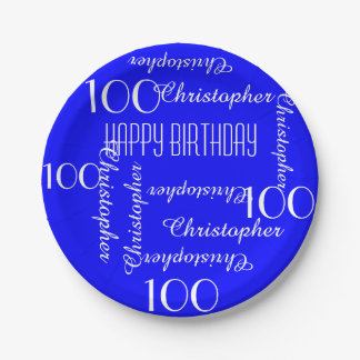 Royal Blue 100th Birthday Party Repeating Names Paper Plate