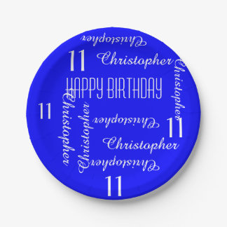 Royal Blue 11th Birthday Party Repeating Names Paper Plate