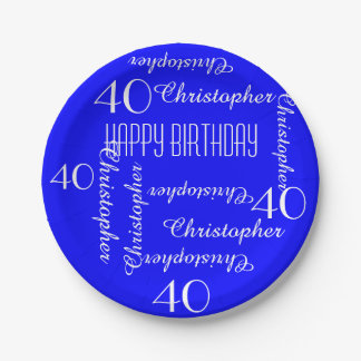 Royal Blue 40th Birthday Party Repeating Names Paper Plate