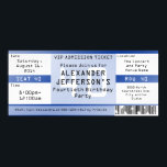 """Royal Blue 40th Birthday Party Ticket Invitation<br><div class=""""desc"""">Royal Blue 40th Birthday Party Ticket Invitations, with digital-style printed that looks just like a real concert ticket! Your guest of honor is the headline band! Use it for an over the hill 40th birthday party or any event. Seat, row, location divisions and sections, with a computer printout style text....</div>"""