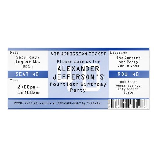 Royal Blue 40th Birthday Party Ticket Invitation
