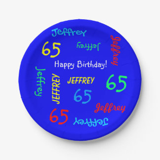 Royal Blue, 65th Birthday Party, Repeating Names Paper Plate