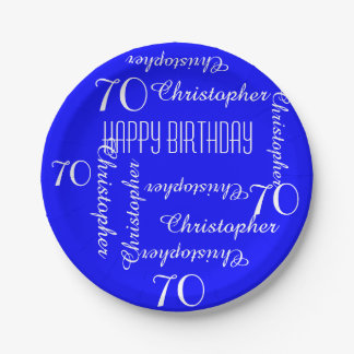 Royal Blue 70th Birthday Party Repeating Names Paper Plate