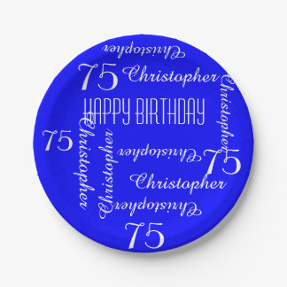 Royal Blue 75th Birthday Party Repeating Names Paper Plate