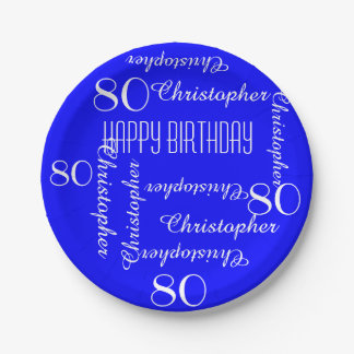 Royal Blue 80th Birthday Party Repeating Names Paper Plate