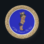 """Royal Blue African American Prince Baby Shower Paper Plate<br><div class=""""desc"""">Royal blue and gold prince baby shower paper plates with adorable little African American prince wearing a royal blue diaper and gold crown on a beautiful blue and gold background. You can add the text of your choice to personalize these prince baby shower paper plates, and you can change or...</div>"""